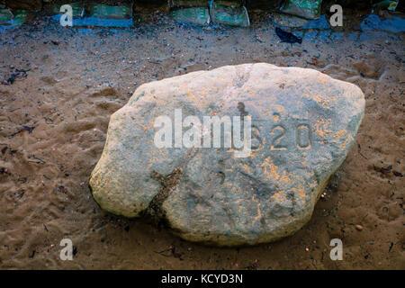 Plymouth Rock in Plymouth, Massachusetts, wo die Pilger im Jahre 1620 landete. - Stockfoto