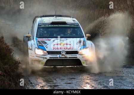 Andreas Mikkelsen auf das Wales World Rally Championship (WRC) Rallye GB Wales, Großbritannien - Stockfoto
