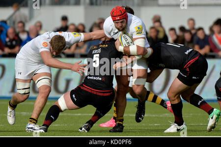 London, Großbritannien. 8. Oktober, 2017. Aviva rugby Premier League Sarazenen v Wespen bei Allianz Park London, - Stockfoto