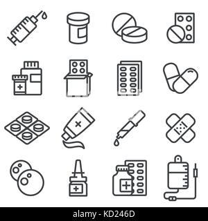 Vektor Pillen, Kapseln und Flaschen Symbole gesetzt. Zeile Symbole - Stockfoto