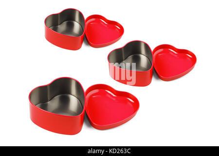 Rotes Herz geformten Metallbehälter auf weißem Hintergrund angeordnet - Stockfoto