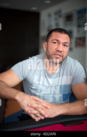 Bulgarische schweres Gewicht Boxer Kubrat Pulev am Bundesleistungszentrum Kienbaum (Kienbaum National Training Center) - Stockfoto