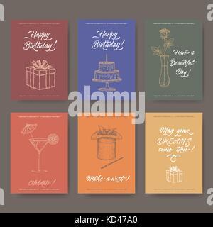 Sechs helle a4 Format vintage Geburtstag Karten mit Kalligraphie, Geschenk, Kuchen, Blume, Cocktail, magischen Hut - Stockfoto