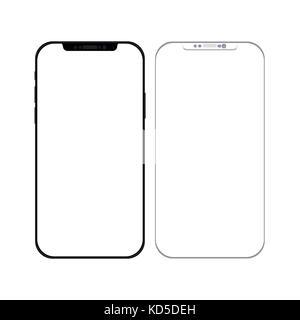 Smartphone in Schwarz und Weiß mit leerer Bildschirm - Mockup Vorlage - EPS 10 Vector Illustration - Stockfoto