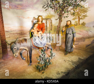 Biblische Szene Darstellung (presepe) von der Jungfrau Maria und Christus Kind in Ägypten (Sacro Monte di Varallo, - Stockfoto