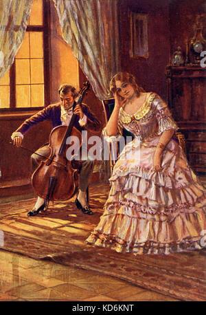 'Liebe' Klänge Cherished Sounds Gemälde der Darstellung junge Frau im modischen Anfang bis Mitte 19. Jahrhundert - Stockfoto