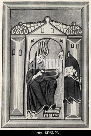 HILDEGARD von Bingen, Heilige. Ihr Komponieren ist durch den Heiligen Geist inspiriert, um ihren Kopf. Abbildung - Stockfoto
