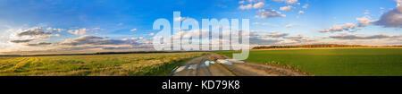 Schönen ländlichen Herbst Landschaft Panorama mit Strasse, Feld und blauer Himmel mit weißen Wolken. Panoramablick - Stockfoto