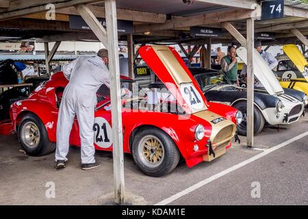 Von grahame Bryant 1964 AC Cobra ist der Monteur in der paddockat das Goodwood Revival 2017, Sussex, UK. rac tt - Stockfoto