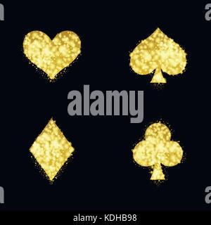Goldene ass Spielkarte Zeichen. Vector Illustration - Stockfoto