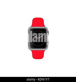 Rendering einer Smart watch auf weißem Hintergrund und leerer Bildschirm rot Gurt isoliert - Stockfoto