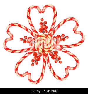 Lollipop, Blume mit Weihnachten Süßigkeiten mit einem Bogen. Elemente für eine Weihnachtskarte. Aquarell Abbildung - Stockfoto