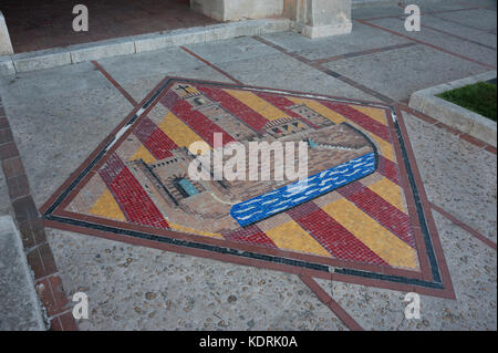 Wappen der Stadt Ciutadella de Menorca, Balearen, Spanien - Stockfoto