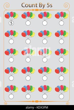 Math worksheet Template mit Zählen und mit Insekten Abbildung ...