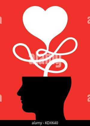 Kopf von einem Mann denken an nichts anderes als die Liebe - Vector Illustration - Stockfoto
