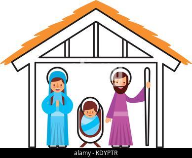 krippe jungfrau maria und das jesuskind in hütte bild vektor abbildung - bild: 143089027 - alamy