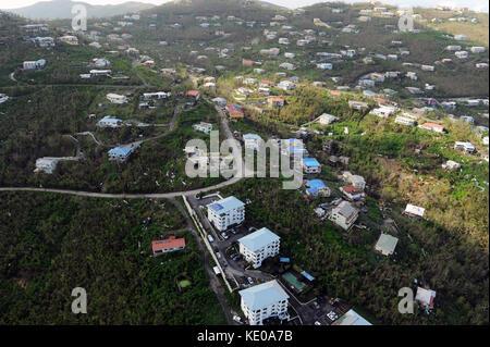 Luftaufnahmen, die die Schäden, die durch die jüngsten Hurrikans in Caneel Bay verursacht am 12. Oktober 2017. - Stockfoto