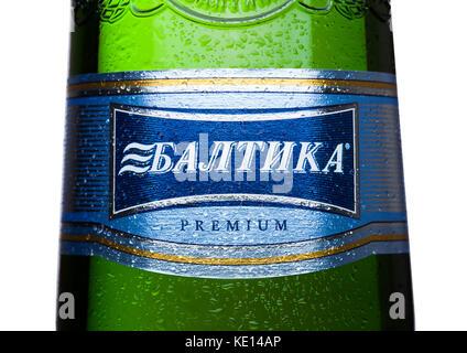 London, UK, 15. Mai 2017: Etikett von baltika Lagerbier Nummer sieben Premium auf weißem Hintergrund. baltika ist - Stockfoto