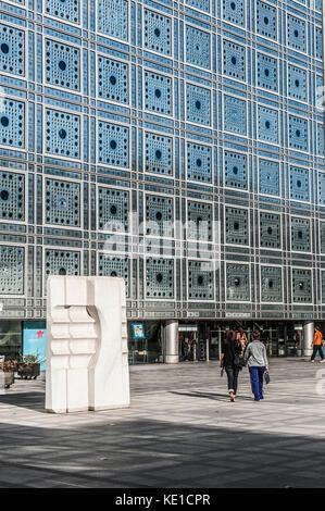 Institut du Monde Arabe, Glasfassade, Paris, Frankreich - Stockfoto