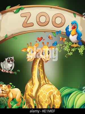 Zoo anmelden und viele Tiere Abbildung - Stockfoto