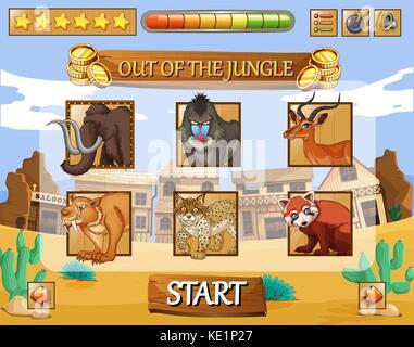 Spiel Template mit wilden Tieren als Zeichen Abbildung - Stockfoto