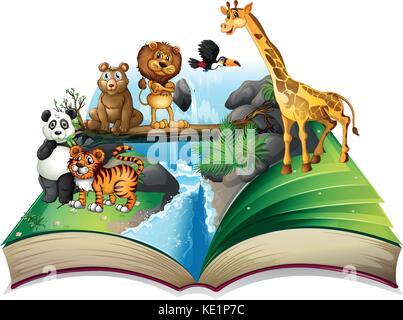 Buch der wilden Tiere am Wasserfall Abbildung - Stockfoto