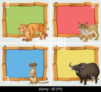 Rahmenkonstruktion mit wilden Tieren Abbildung - Stockfoto