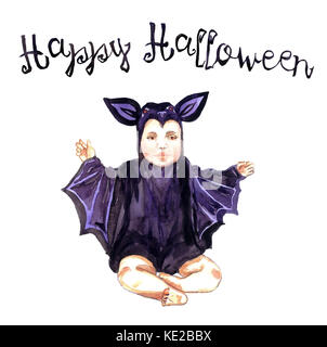 Cute Baby in bat Kostüm sitzen, Happy Halloween, Handgemalten Aquarell Abbildung isoliert - Stockfoto