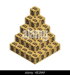Bitcoin. Goldene große bitcoin Pyramide. isometrische Pyramide bestehend aus Würfel mit schwarzen bitcoin Zeichen - Stockfoto