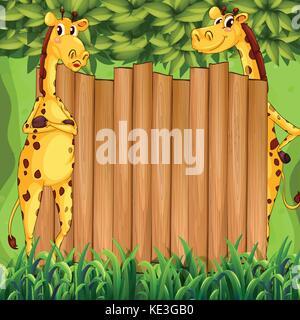 Grenze Design mit zwei Giraffen Abbildung - Stockfoto