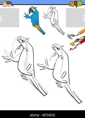 Zeichnung und Färbung Aktivität mit Ara Vogel Stockfoto, Bild ...