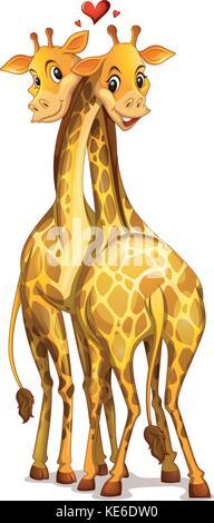 Zwei Giraffen in der Liebe Abbildung - Stockfoto