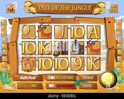 Spiel Template mit Wüste Thema Abbildung - Stockfoto