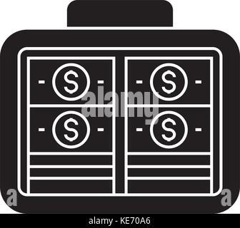Portfolio Geld - Investitionen - Banknoten Symbol, Vector Illustration, schwarze Zeichen auf isolierten Hintergrund - Stockfoto