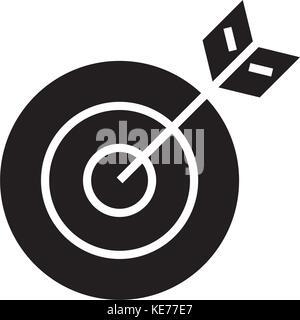 Ziel Pfeilsymbol, Vector Illustration, schwarze Zeichen auf isolierten Hintergrund - Stockfoto