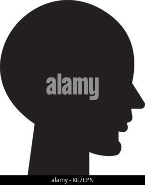 Kopf leer Symbol, Vector Illustration, schwarze Zeichen auf isolierten Hintergrund - Stockfoto
