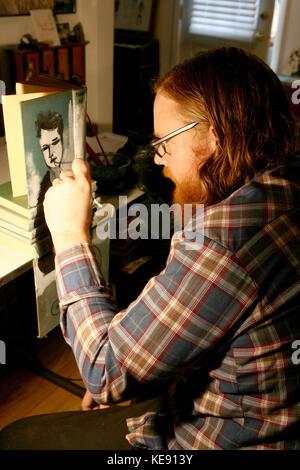 Pasadena (Kalifornien), 13. Januar 2010. Mike stilkey Portrait Session. Los Angeles native Mike stilkey hat immer - Stockfoto