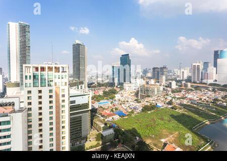 Luftaufnahme des Geschäftsviertel entlang der thamrin und sudirman Avenue in Jakarta, Indonesien Hauptstadt an einem - Stockfoto