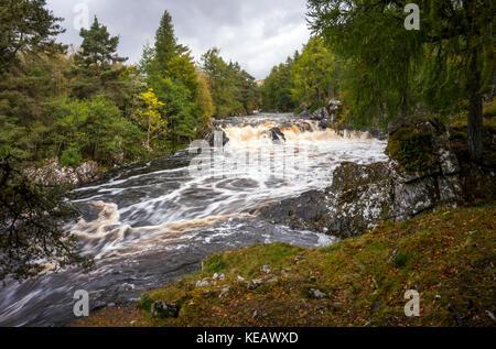 Cassley fällt oder Achness Wasserfall auf dem Fluss in der Nähe von Cassley Rosehall, Sutherland, Schottisches Hochland, - Stockfoto