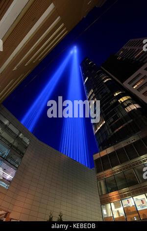 Tribute in Light Gedenken an die Anschläge vom 11. September in New York City - Stockfoto
