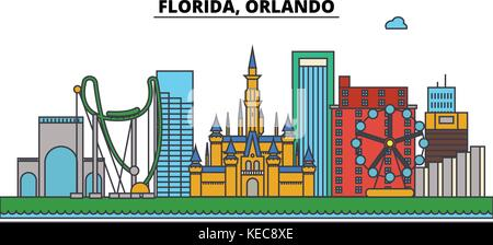 Florida, Orlando. Skyline der Stadt Architektur, Gebäude, Straßen, Silhouette, Landschaft, Panorama, Sehenswürdigkeiten, - Stockfoto
