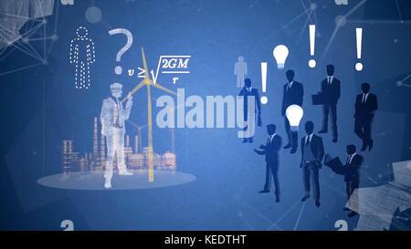 Business Konzept Ideen. leuchtende Glühbirne im Dunkeln. Kreativität inspiration Konzept Ideen. Mann, leuchtende Idee Stockfoto