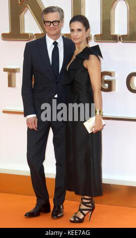 "Sep 18, 2017 - Colin Firth und Livia Firth Teilnahme an 'Kingsman: Der Golden Circle"" Weltpremiere, Leicester Square - Stockfoto"