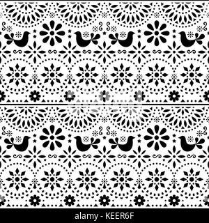 Mexikanischer Volkskunst Vektor nahtlose Muster mit Vögel und Blumen, schwarze und weiße fiesta Design durch traditionelle - Stockfoto