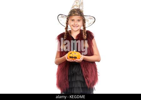 Kleines Mädchen in Halloween Kostüm - Stockfoto
