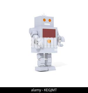 Spielzeug Roboter, auf weißem Hintergrund. - Stockfoto