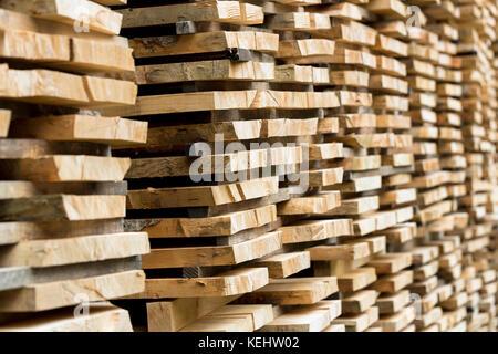 Buche Planken für die Würze der Protokollierung Holz Werk in Valle del Roncal in Pyrenäen gestapelt, nördlichen - Stockfoto