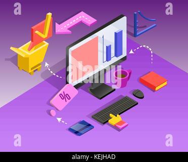 3d-isometrische Internet banking. Überweisung, finanzielle Transaktion. Vector Illustration - Stockfoto