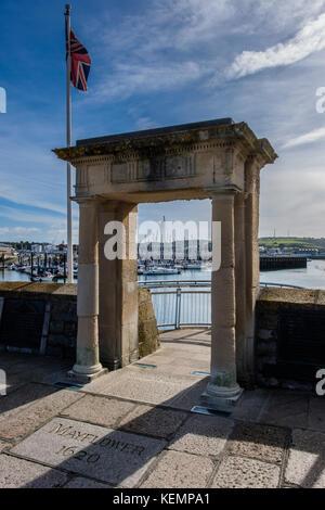 Layflower Schritte, Barbican, Plymouth, Devon, England, Großbritannien - Stockfoto