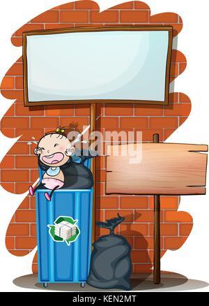 Vektor-Illustration von Baby schreit im Kinderwagen Vektor ...